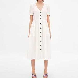 Zara White Button Front Pocket Midi Dress